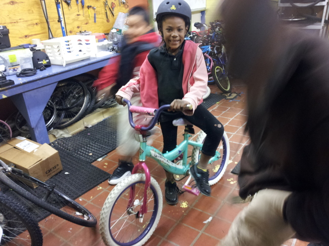 Zerrianna couldn't be more excited about her new bike!